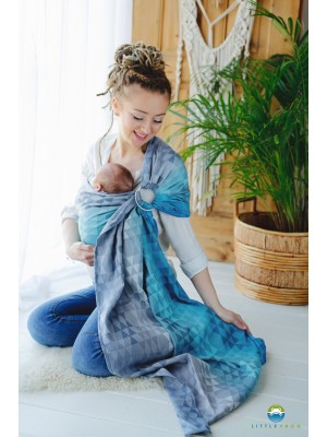 Riņķu slings Little Frog Navy Illusion, Jacquard